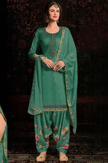 Cotton Satin Patiala Suit in Sea Green with dupatta