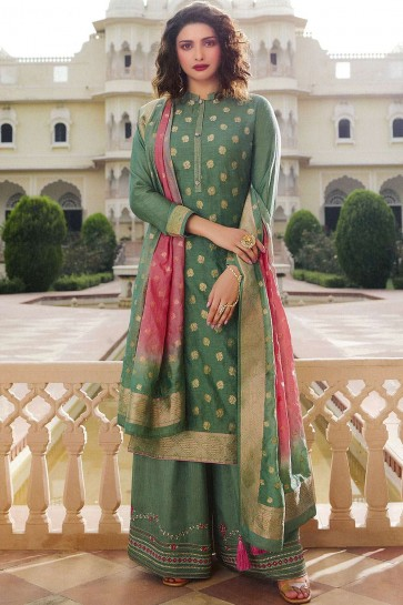 Light green Jacquard and silk Palazzo Suit