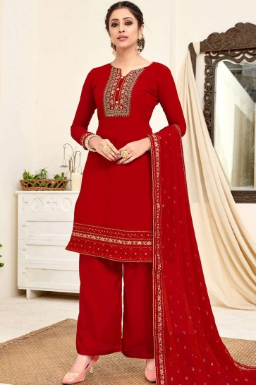Red Georgette Palazzo Suit