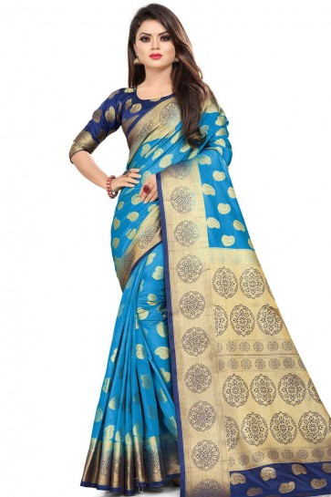 Blue Saree in Art Silk with Weaving