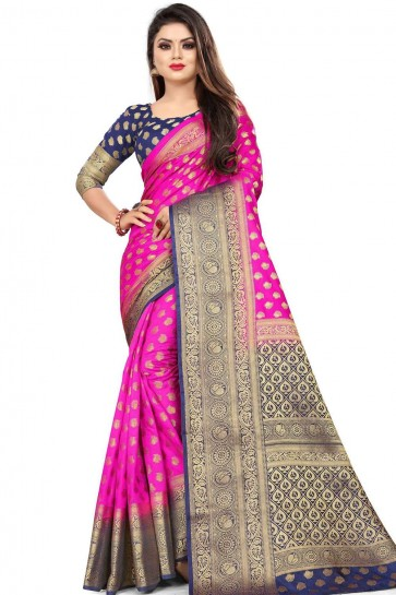 Rani pink Art silk  saree