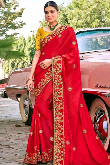 Red Saree in Embroidered Satin & Silk