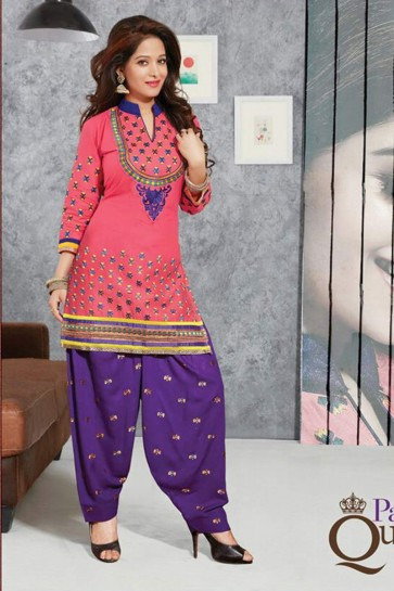 pink Pure Cotton lown Patiala Suit