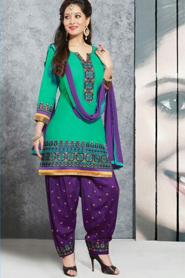 Green Pure Cotton lown Patiala Suit