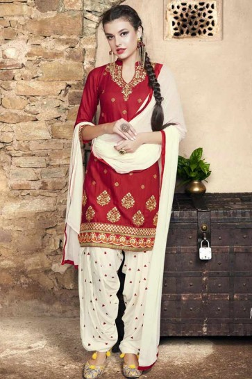 red Cotton Patiala Suit