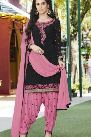 black JAM SILK Patiala Suit