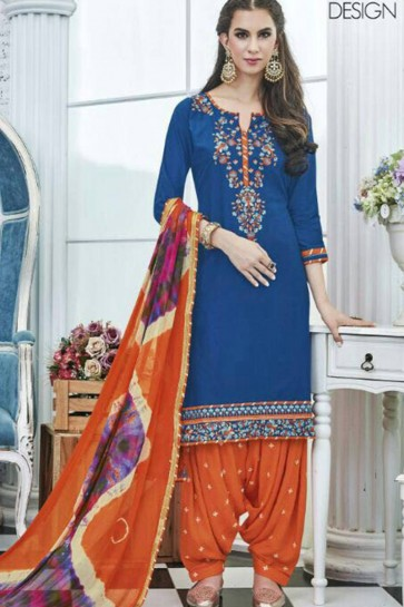 blue Cotton Patiala Suit