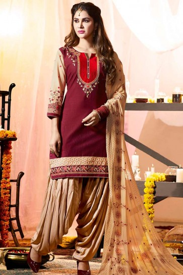 violet Cotton Patiala Suit