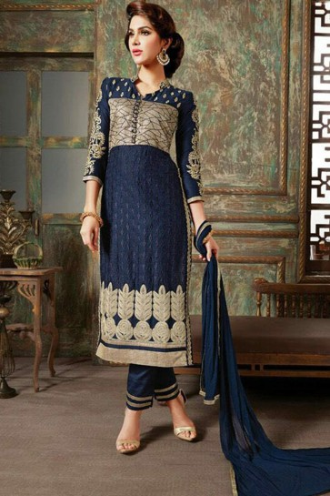 navy blue satin cotton Salwar kameez